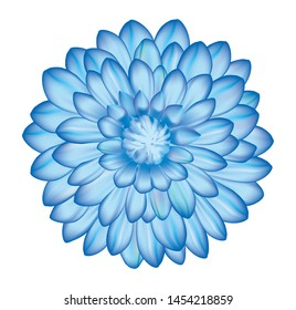 Blue dahlia flower with shiny petals isolated on white background in vector illustration