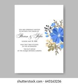 Blue Dahlia Tropical Flower Wedding Invitation