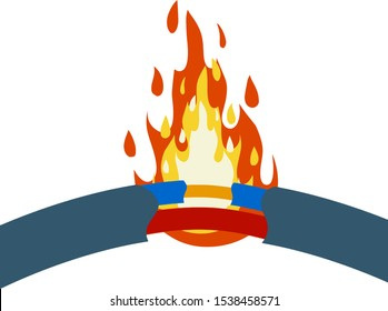 Blue damaged cable with red wire. short circuit. Cartoon flat illustration. Broken line. faulty electrical appliance. Safety rule. Orange flame and fire