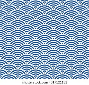 Blue and dark blue Japanese style wave pattern