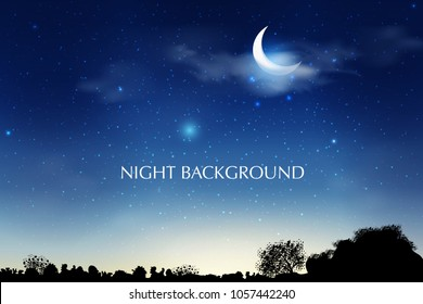 Blue dark Night sky background with half moon, clouds and stars. Moonlight night. Vector illustration. Milkyway cosmos background