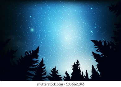 Blue dark night sky with many stars above field of trees. Milky way cosmos background. Space landscape.