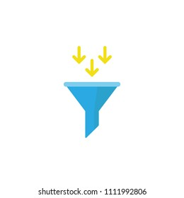blue data filter with yellow arrows. Flat data funnel icon. isolated on white background. Analytics info, tunnel information, flow exploration, vector illustration