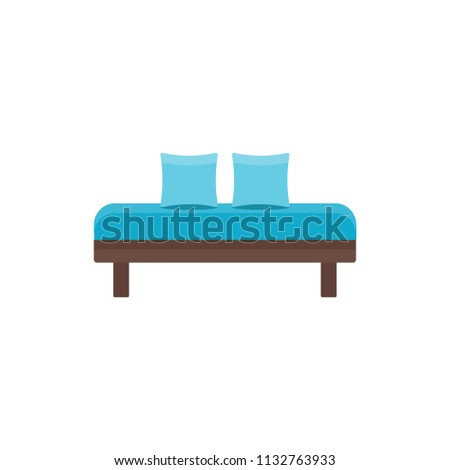 Blue Daybed With Pillows. Comfortable Sofa. Vector Illustration. Flat Icon  Of Settee.
