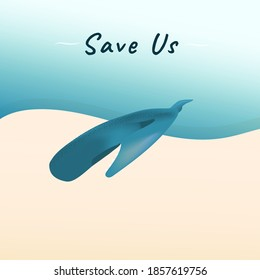 A blue dead stranded whale on sand beach vector for climate change and global warming campaign