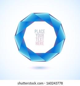 Blue decagon shape on white background