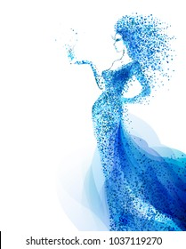 Blue decorative composition with girl. Cyan particles formed abstract woman figure.