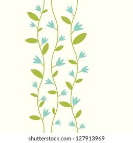 Blue decorative flowers card template