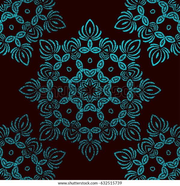 Blue Decorative Mandala. Cyan Vintage, ethnic element. Oriental pattern, vector illustration for wedding invitations, greeting cards. Islam, Arabic, indian, turkish pakistan chinese motifs