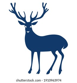 Blue deer with big antlers.. Vector color silhouette image.