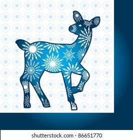 blue deer pattern background