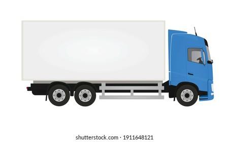 Blue  delivery truck. vector illustration