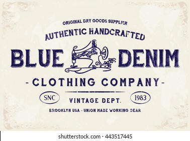 Blue Denim Clothing print for t-shirt or apparel. Retro artwork for fashion and printing. Old school vector graphic with denim theme and typography. Vintage effects are easily removable.
