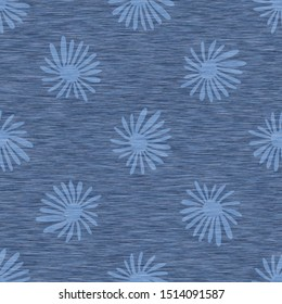 Blue denim marl seamless pattern with patterned daisy. Jeans bleached texture fabric textile. Vector dyed cotton melange t shirt all over print.
