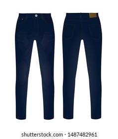 Blue denim pants. vector illustration