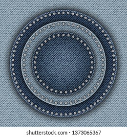 Blue denim poster with jeans round parts with diamonds.