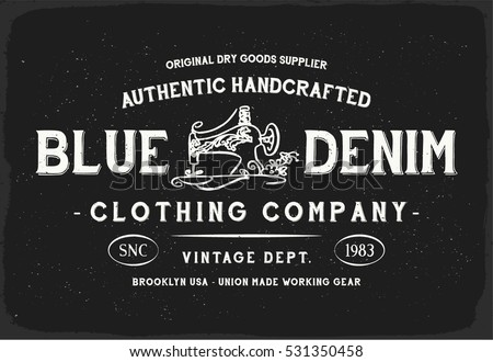3872f8d7 Blue Denim print in black and white for t shirt or apparel. Retro style  graphic
