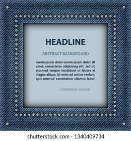 Blue denim square frame with diamonds and text inside.