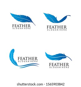 blue detailed feather logo design set template