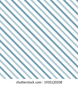 Blue diagonal stripes vector seamless pattern. Abstract geometric stripy background. Linear simple backdrop.