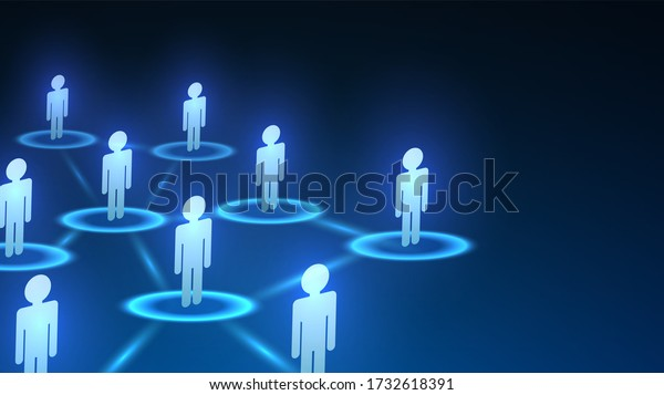 Blue Diagram Social Network Online Contacts Stock Vector Royalty Free 1732618391
