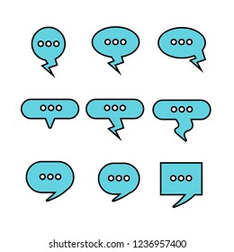 blue dialog, speech bubble set