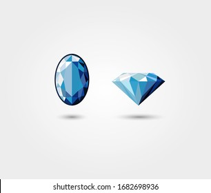 Blue diamond flat vector isolated on white background - top view and side view
