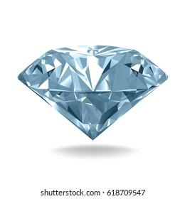 Blue diamond on white background. Vector illustration.
