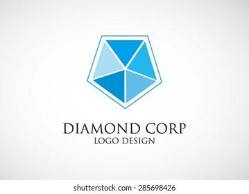 Blue diamond pentagon logo element icon design vector for business shape symbol template