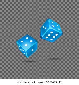 Blue dice on transparent background. Vector illustrator
