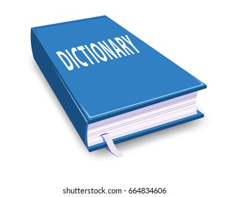 blue dictionary isolated on white background