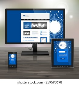 Blue digital application template design for corporate identity with optical fiber elements. Stationery set