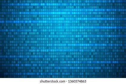 Blue digital background. Random binary code