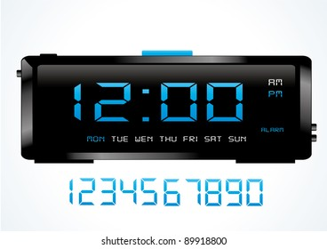 Blue digital vector clock.