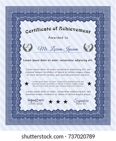 Blue Diploma template or certificate template. Elegant design. With complex linear background. Detailed.