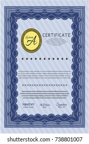Blue Diploma template or certificate template. Nice design. Detailed. Printer friendly.