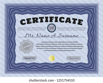 Blue Diploma template. Printer friendly. Detailed. Elegant design.