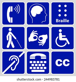blue disability symbols and signs collection, may be used to publicize accessibility of places, and other activities for people with various disabilities.vector illustration