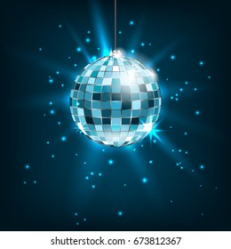 Blue Disco Ball with Light Rays. Glitter Shiny Background - Illustration Vector