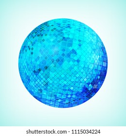 Blue discoball. Disco mirrorball designed for party flyer, art poster or cover brochure. Vector illustration.