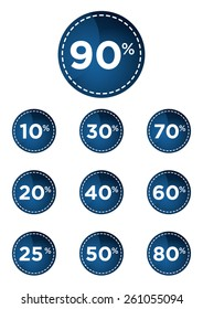 Blue discount prices label vector illustration