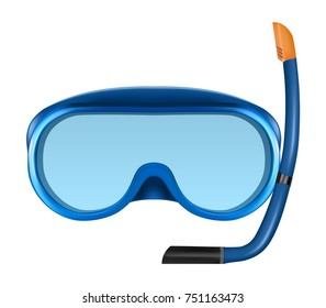 Blue diving or snorkel mask with tube. Realistic vector illustration of snorkeling equipment