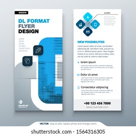 Blue DL Flyer design with square shapes, corporate business template for dl flyer. Creative concept flyer or banner layout.