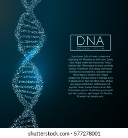 Blue DNA sequence glitter shiny vector illustration. Science molecule structure backgroundbackground. Vector eps10.