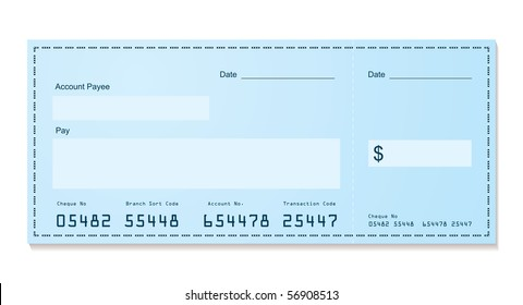 Blue dollar old style bank cheque blank for your business
