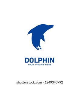 Blue Dolphin logo icon symbol, blue dolphin jump from water in splash illustration effect style on tail