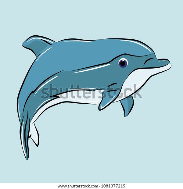 Blue Dolphin Print On Clothes Stock Vector (Royalty Free) 1081377215