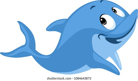 Blue Dolphin smiling cartoon flat cute vector illustration isolated on white