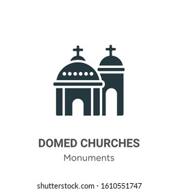 Blue domed churches glyph icon vector on white background. Flat vector blue domed churches icon symbol sign from modern monuments collection for mobile concept and web apps design.