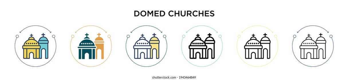 Blue domed churches icon in filled, thin line, outline and stroke style. Vector illustration of two colored and black blue domed churches vector icons designs can be used for mobile, ui, web